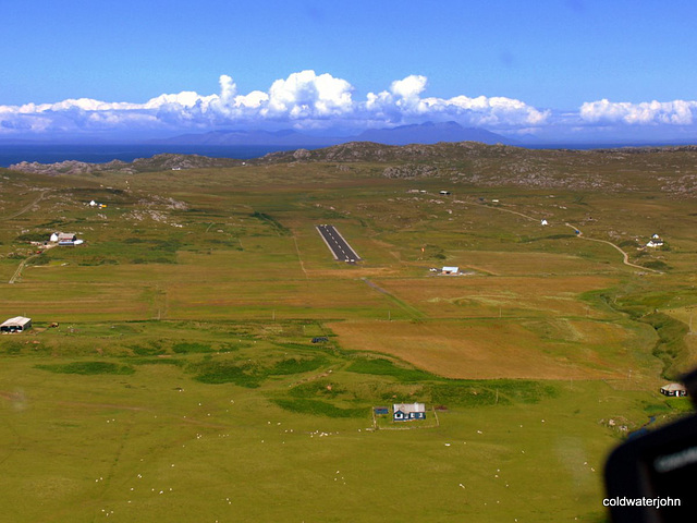 Aerial: Finals to land at Rwy 02 Island of Coll's new tarmac runway!