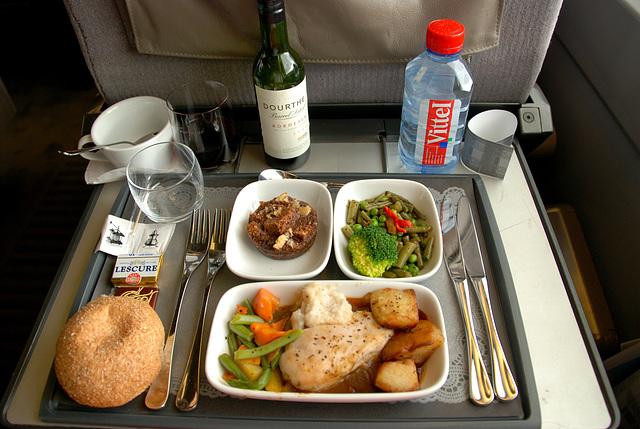 My meal on board the Eurostar train