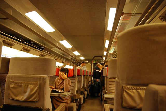 First class interior of an Eurostar train
