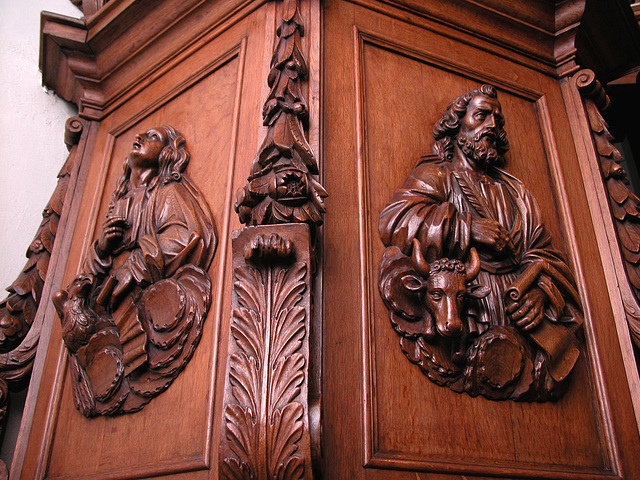 Wood carvings on the pulpit of the Kloosterkerk (Cloister Church) in The Hague