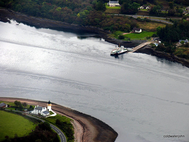 The Coran  Ferry and lighthouse at the bottom of the Great Glen - Loch Linnhe