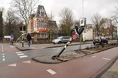 Run-over traffic light