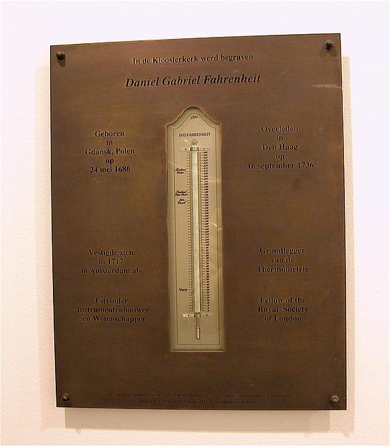 Plaque commemorating Fahrenheit