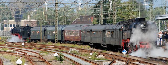 Celebration of the centenary of Haarlem Railway Station: steam train leaving for Zandvoort