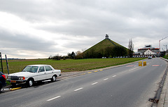 My Benz before the Lion's Mound in Waterloo