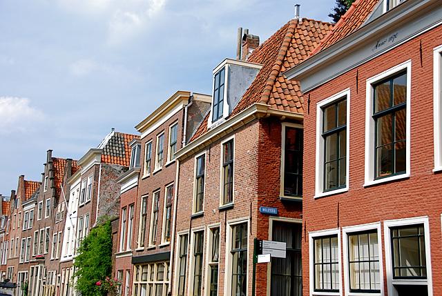 17th Century houses along the Langebrug (Long Bridge) in Leiden