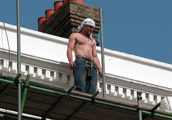 It is spring: builders are taking their tops off