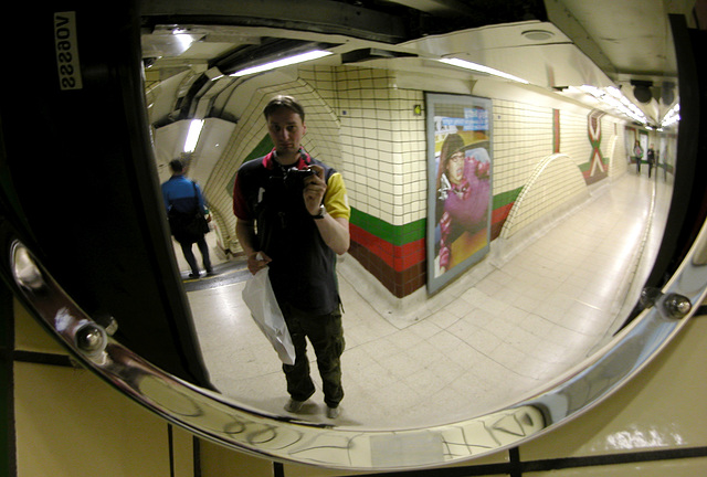 Convex mirror at Piccadilly Circus
