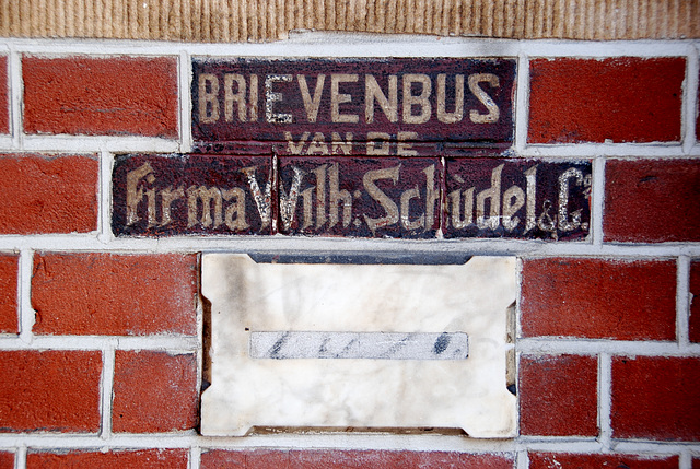 Old letterbox of the firm Wilh. Schudel & Co