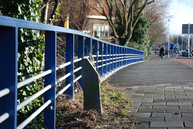 Railing of the bridge over the river Mare in Leiden