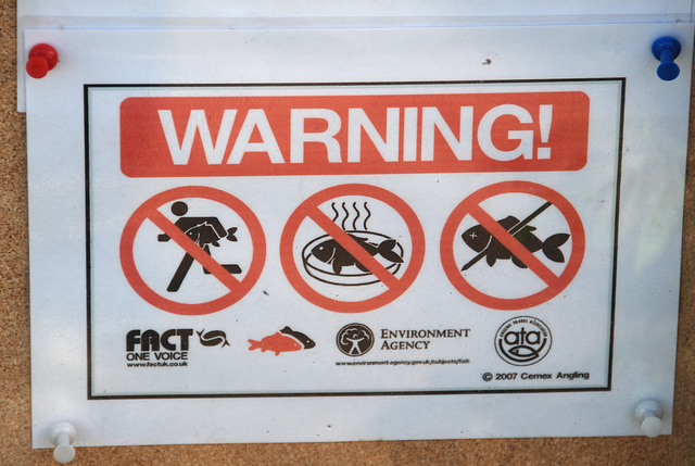 Cambridge: Don't run with a fish - Beware of smelly fish - Fishes with a black pin are not allowed