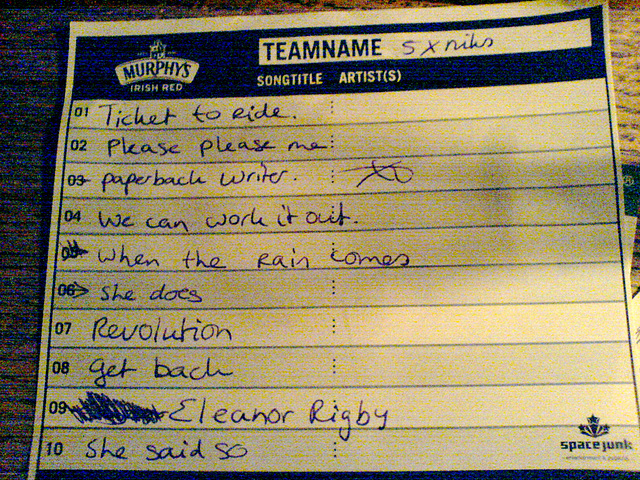 Pub quiz: answers to the music round, guessing the titles of Beatles songs