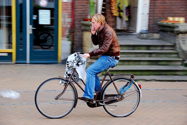 Groningen: Phoning and cycling