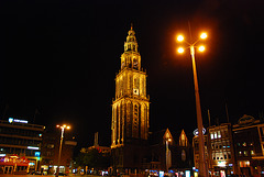 Groningen: Martinitoren (Martini Tower) at night
