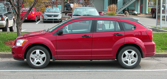 Side view of my rented 2006 Dodge Caliber