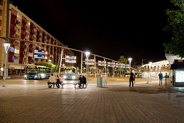 Some night shots of Leiden: The bus station