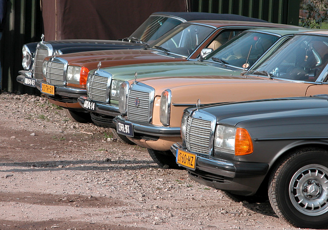 Three generations Mercedes in a row