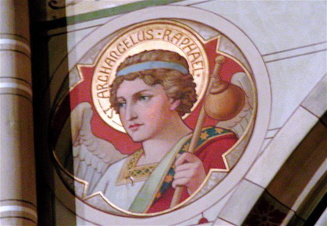 Detail of the Moose Street Church in The Hague: Archangel Rafael