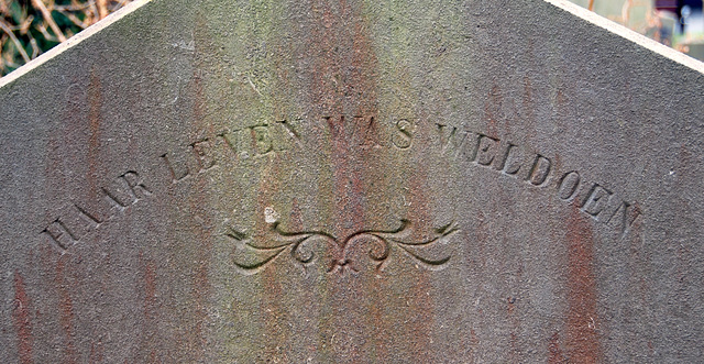 """Grave stone at Green Alley Cemetery: """"Her life was doing good"""""""