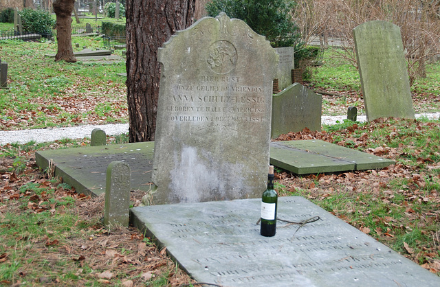 Bottle of wine on a grave