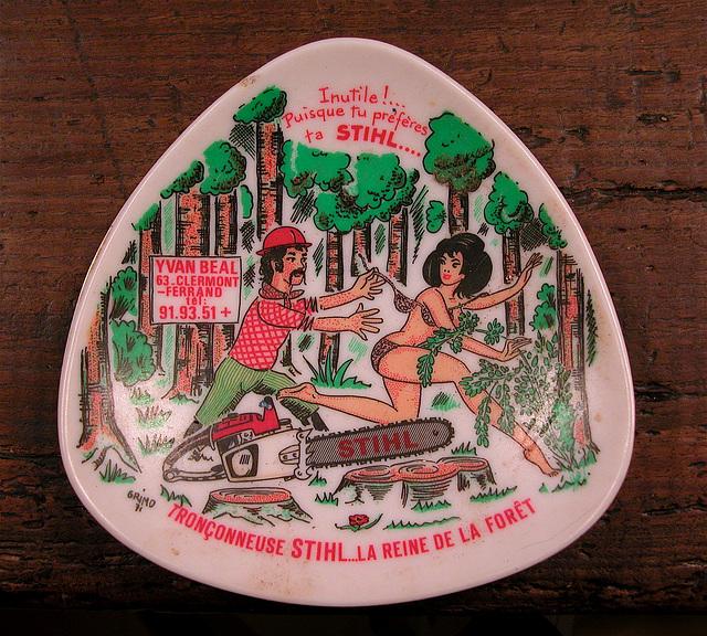 Ashtray series: Politically incorrect ashtray of Stihl chainsaws