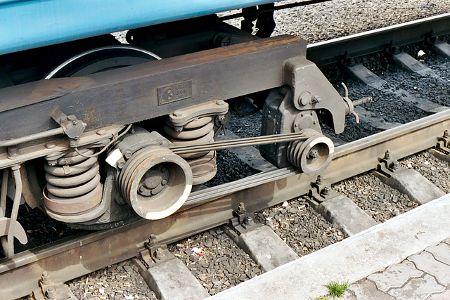 At Kovel station: drive belts for the generator of the train wagon