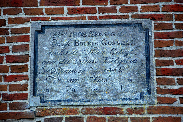 Foudgum in Friesland: First stone from 1808 of the new church