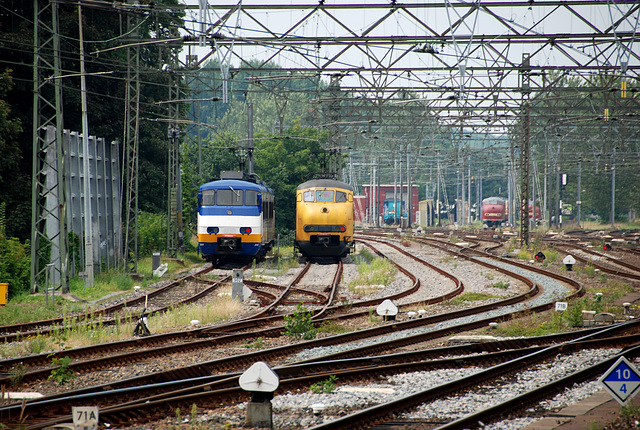 Parked trains at Haarlem station