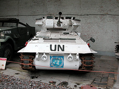 Scimitar light tank in UN colours
