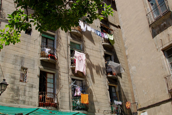 Balconies with washing