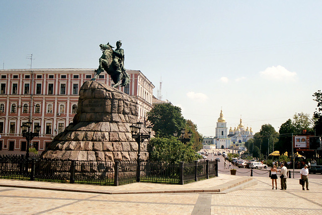 Kiev: the statue of Bohdan Khmelnytsky on the square before St. Sophia's Cathedral