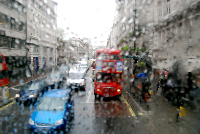Busy Piccadilly in the rain
