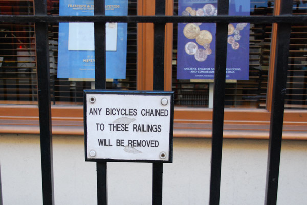 Bicycles will be removed