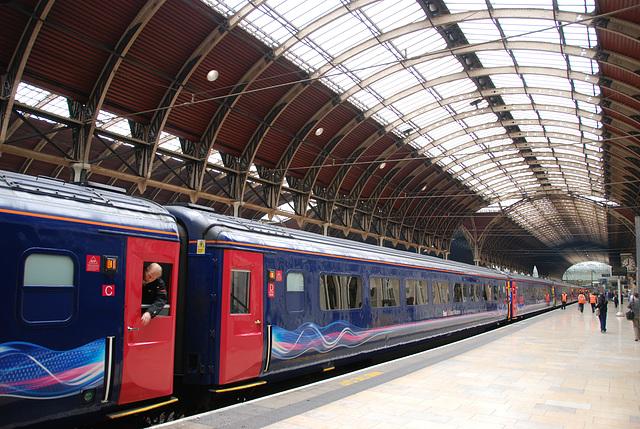 Train arriving at London Paddington