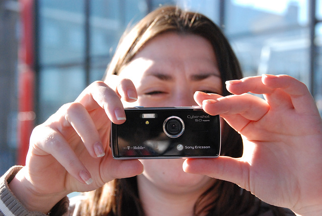 Somebody showing off her 5 MP SonyEricsson camera