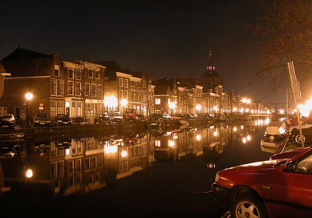 View of the Oude Singel in Leiden