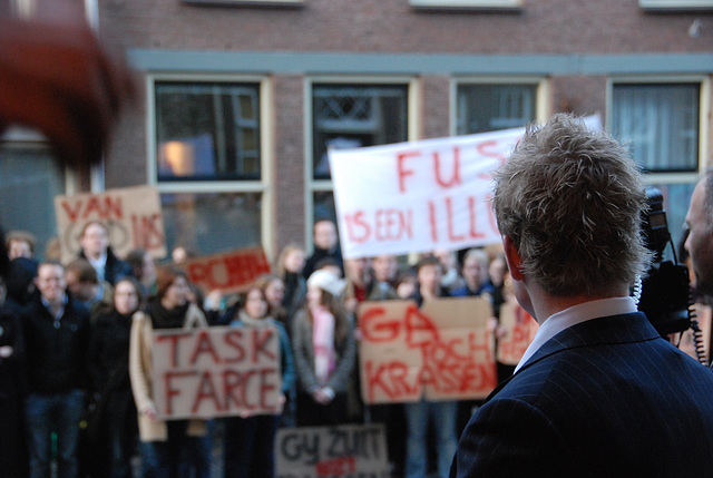 433rd dies natalis of Leiden University: student protest at proposed merger of faculties