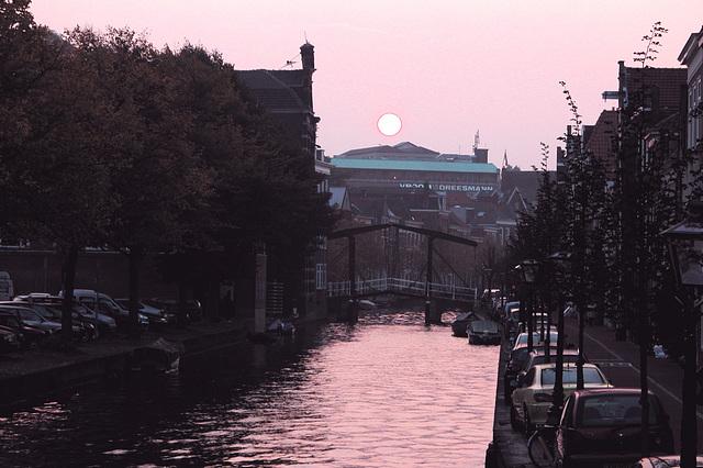 Sun setting over Leiden