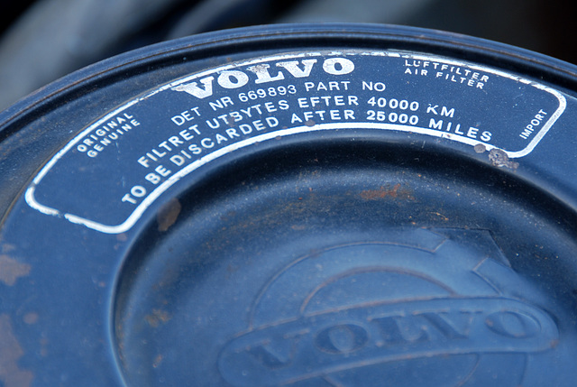 Oldtimer day at Ruinerwold: Air filter of a 1961 Volvo P544 B18