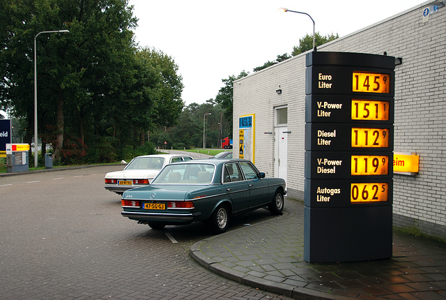 At a petrol station