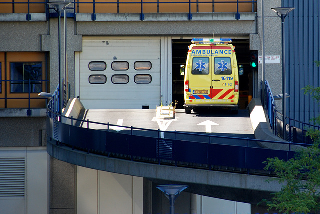 Ambulances enter the hospital on the first floor