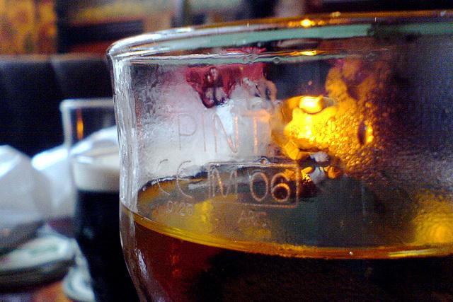 European Union mark on a pint glass