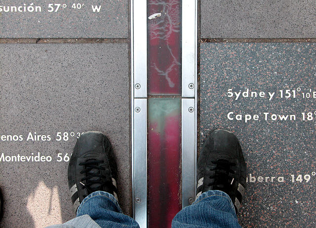 Standing on both sides of the Prime Meridian at Greenwich