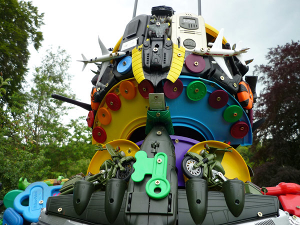 Robot made from plastic toys