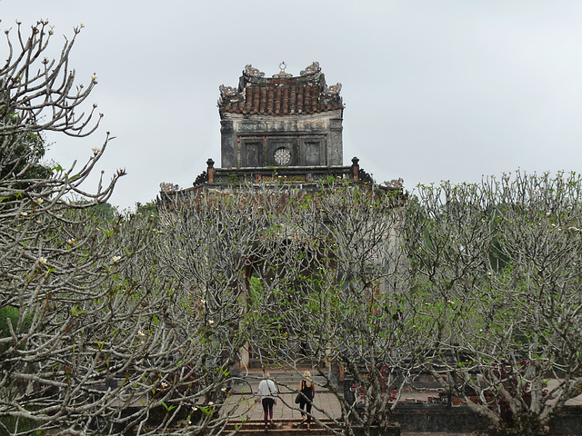 Stele Pavilion through the Frangipani