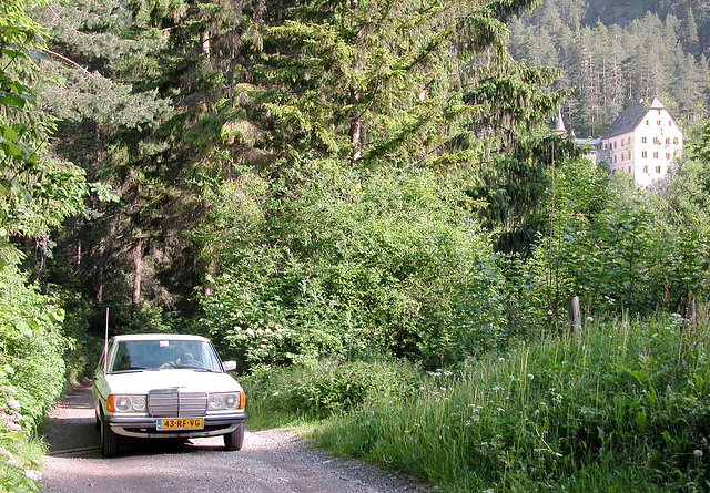 Holiday day one: My Benz in the woods and the hotel in the background