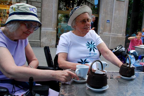 Mum and Nora having tea
