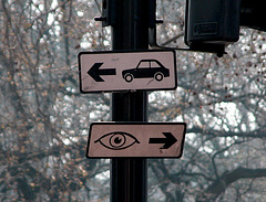 The eye is to the right