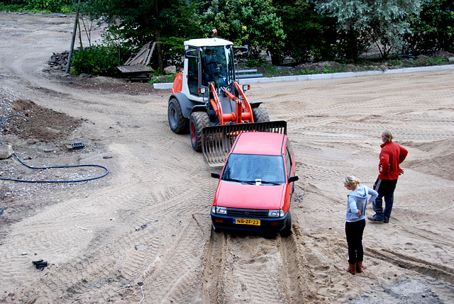 Pulling a car out of the sand