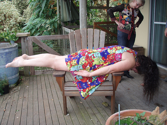 Sandy planking on chair